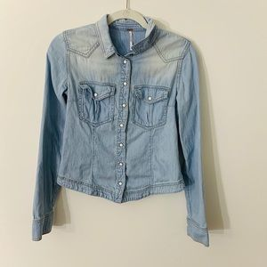 Free People Chambray Sweater Button Detail XS